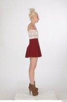 Lilly Bella brown ankle heeled boots casual dressed red short skirt standing t poses white tank top whole body 0007.jpg