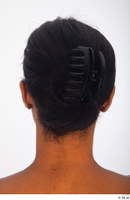Groom references of Cecelia black long hair haircut with large claw clip low hair bun 0012.jpg