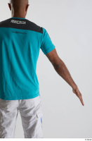 Tiago  1 arm back view blue t shirt dressed flexing sports 0002.jpg