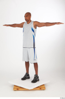Tiago basketball clothing black sneakers dressed standing t poses white shorts white tank top whole body 0002.jpg