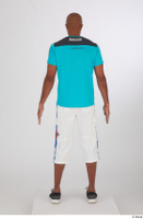 Tiago black sneakers blue t shirt dressed sports standing white capri shorts whole body 0005.jpg