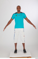 Tiago black sneakers blue t shirt dressed sports standing white capri shorts whole body 0009.jpg