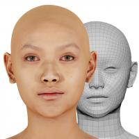 Retopologized 3D Head scan of Halim Ting