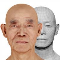 Retopologized 3D Head scan of Ike Hidetsugu