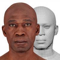 Retopologized 3D Head scan of Kamoni Mccray